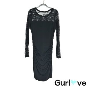 Velvet by G&S L Black Laced Ruched Dress